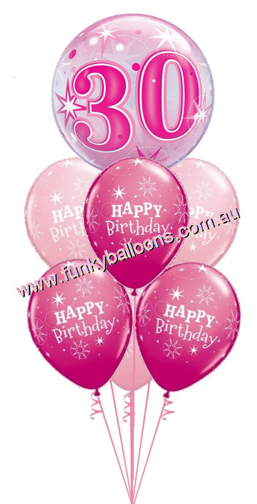 30th Pink Starburst Bubble Birthday Bouquet